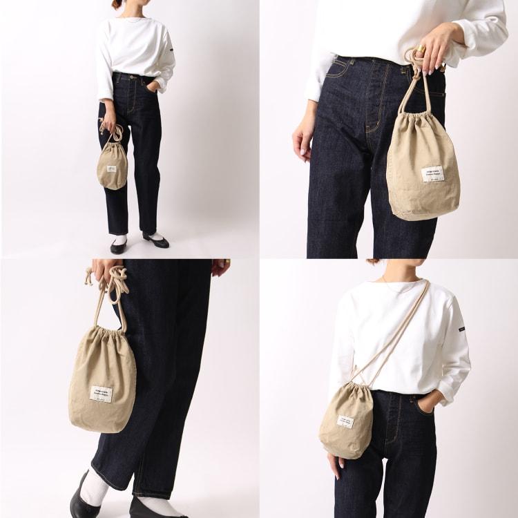 2020春夏新作、ジーンズファクトリー別注アメリカーナの巾着バッグのKHAKIカーキです。