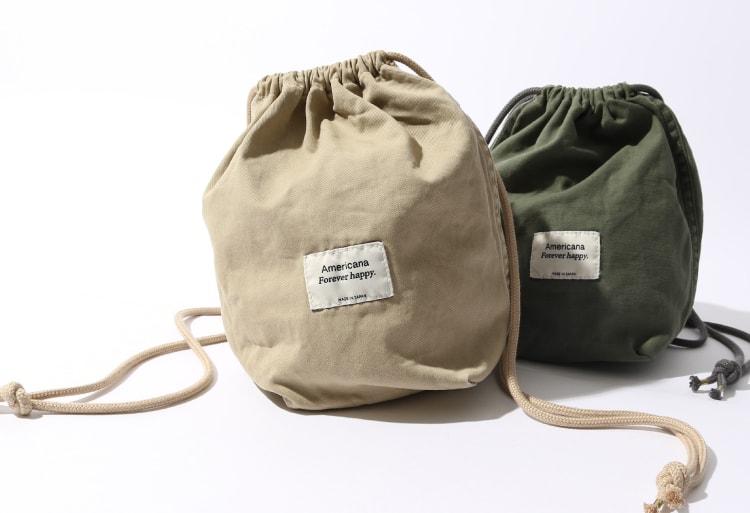 2020春夏新作、ジーンズファクトリー別注アメリカーナの巾着バッグです。
