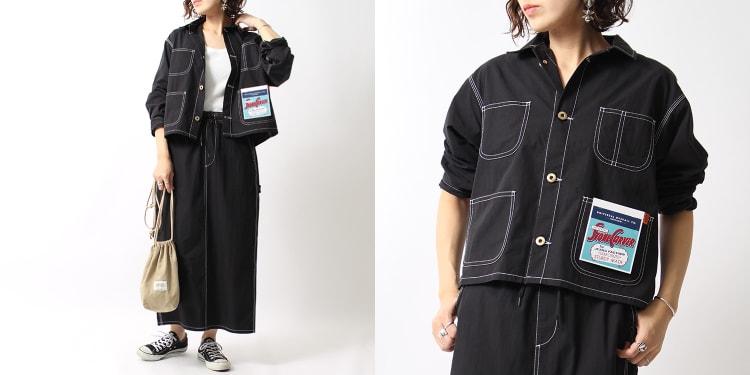 UNIVERSAL OVERALL(ユニバーサルオーバーオール)のジーンズフェクトリー別注ショート丈カバーオールとシェフマキシスカートです。