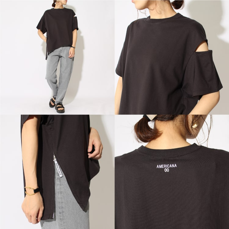 Americana×JEANS FACTORY[アメリカーナ×ジーンズファクトリー]の別注 サイドジップTシャツです。