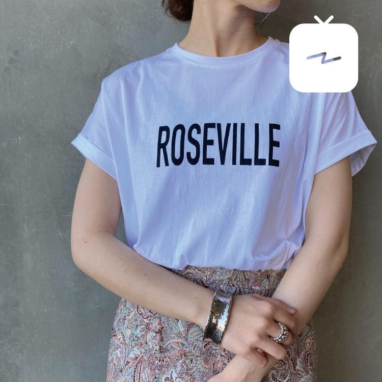 ジーンズファクトリーレディースバイヤーのインスタTVで紹介したマイカ&ディールの別注Tシャツです。