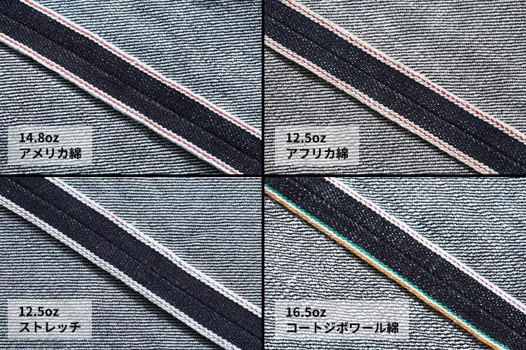 JAPAN BLUE JEANS(ジャパンブルージーンズ)10周年記念限定ジーンズのCIRCLE(サークル)のファブリックサンプルです。