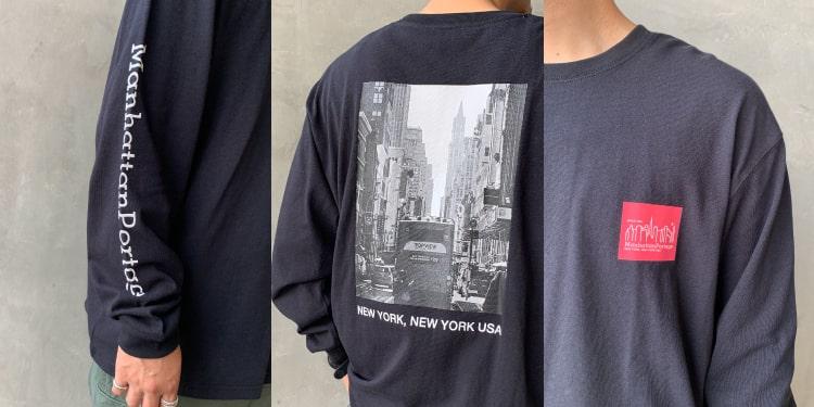 2020秋冬新作、MANHATTAN PORTAGE(マンハッタンポーテージ)の別注バックプリントロングスリーブTシャツです。