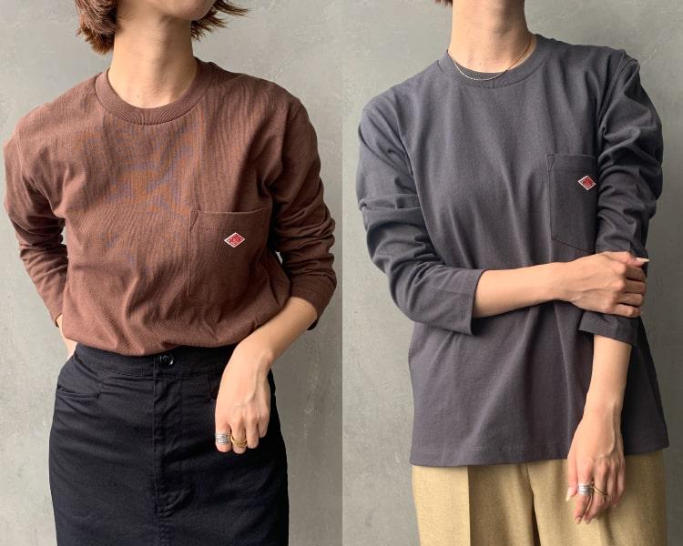 2020秋冬DANTON(ダントン)新作コットン長袖ポケットTシャツのレディースの写真です。
