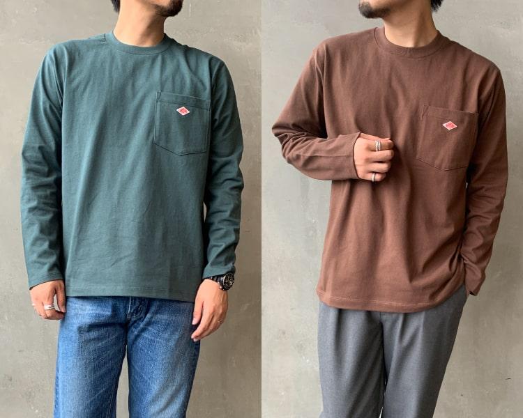 2020秋冬DANTON(ダントン)新作コットン長袖ポケットTシャツのメンズの写真です。