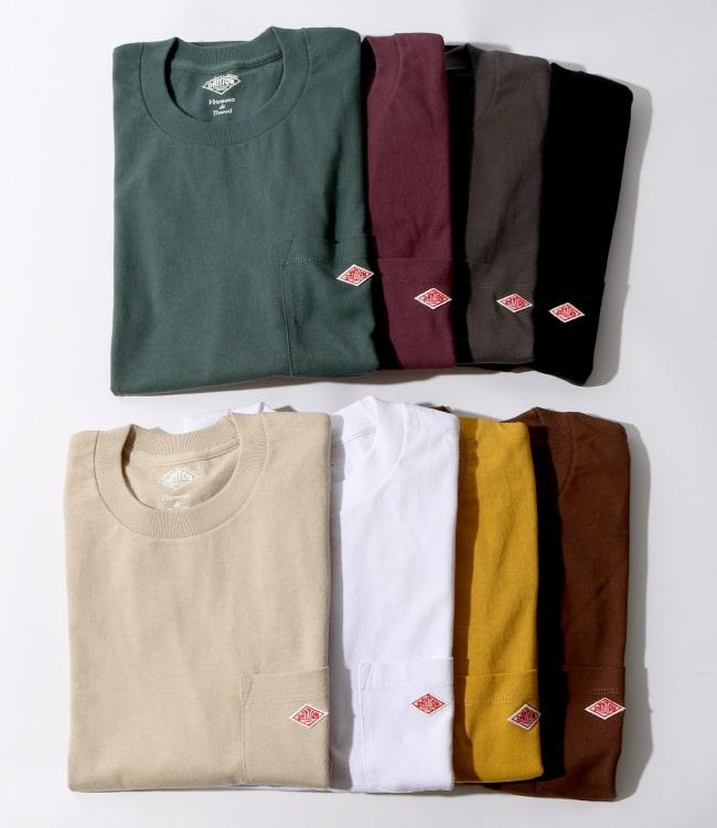 2020秋冬DANTON(ダントン)新作コットンポケットTシャツのカラーバリエーションの写真です。