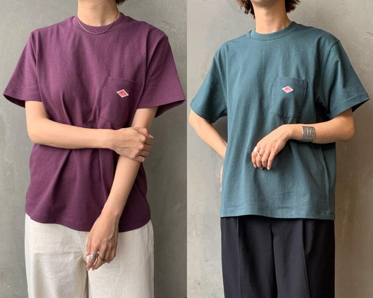 2020秋冬DANTON(ダントン)新作コットン半袖ポケットTシャツのレディースの写真です。