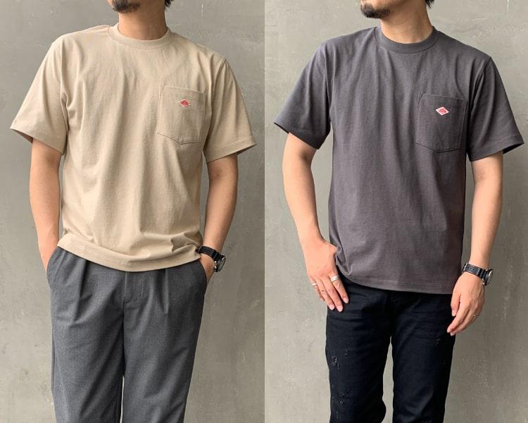 2020秋冬DANTON(ダントン)新作コットン半袖ポケットTシャツのメンズの写真です。
