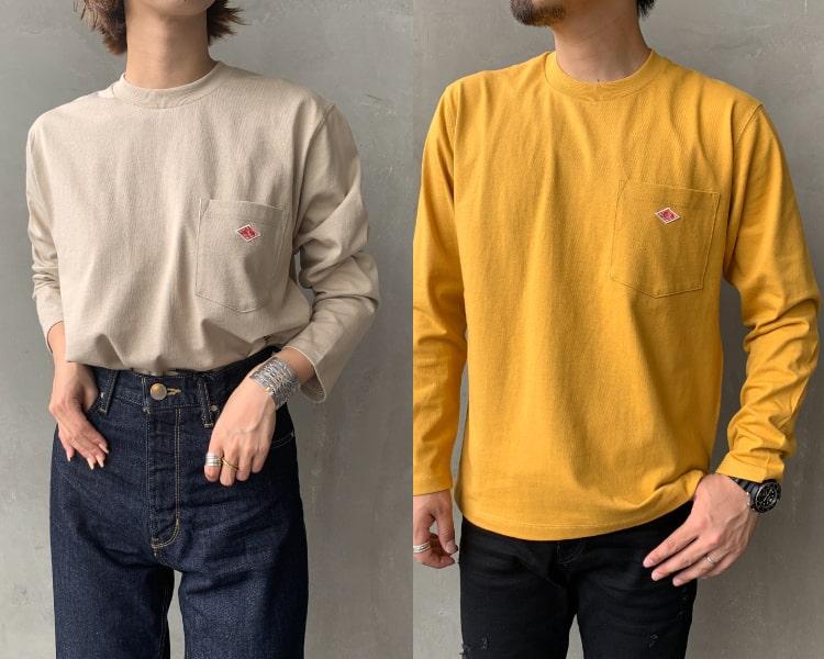 2020秋冬DANTON(ダントン)新作コットン長袖ポケットTシャツの写真です。