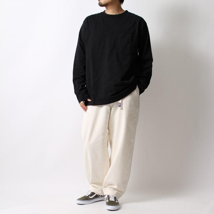 THE NORTH FACE PURPLE LABEL [ザ ノースフェイス パープルレーベル] 7oz 長袖ポケットTシャツとストレッチツイルワイドテーパードパンツのコーディネートです。