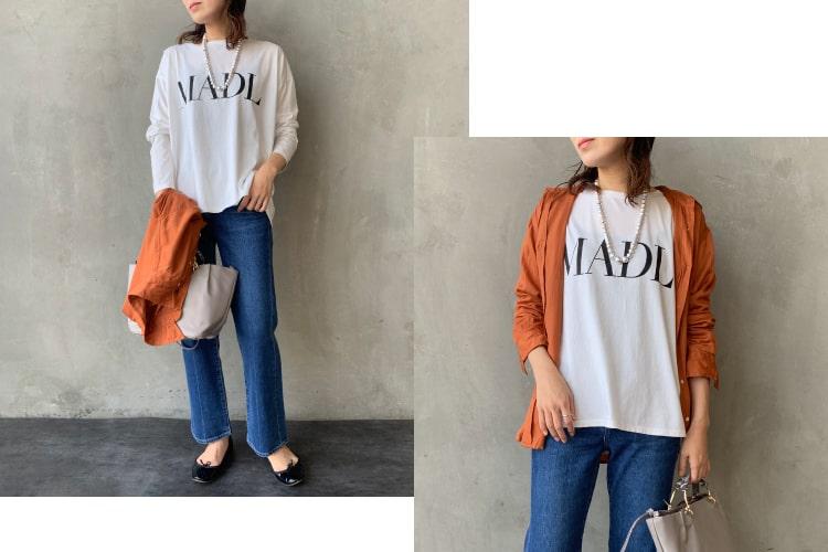 MICA&DEAL × JEANSFACTORY[マイカアンドディール×ジーンズファクトリー]の別注バックスリットプリントTシャツです。