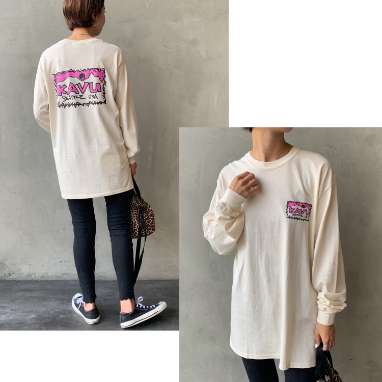 KAVU [カブー] レフトロングスリーブTシャツのコーディネートです。