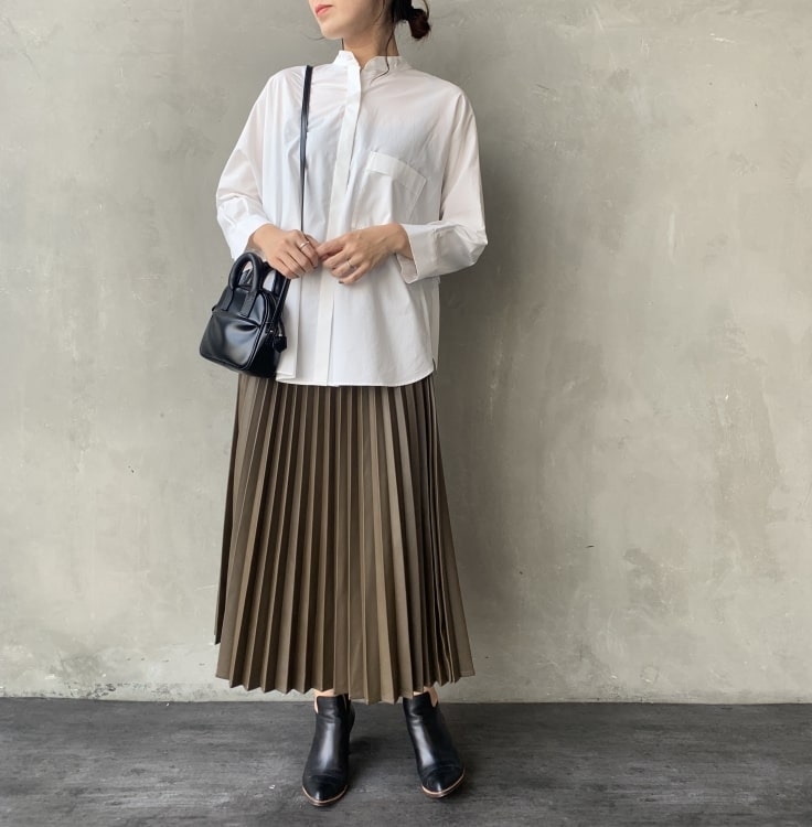 Jeans Factory Clothes [ジーンズファクトリークローズ] フェイクレザープリーツスカートのコーディネートです。