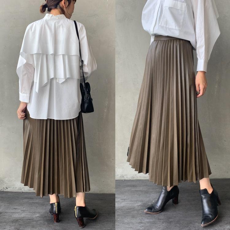 Jeans Factory Clothes [ジーンズファクトリークローズ] フェイクレザープリーツスカートの着用写真です。