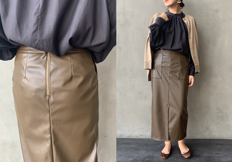 Jeans Factory Clothes [ジーンズファクトリークローズ] フェイクレザータイトスカートです。