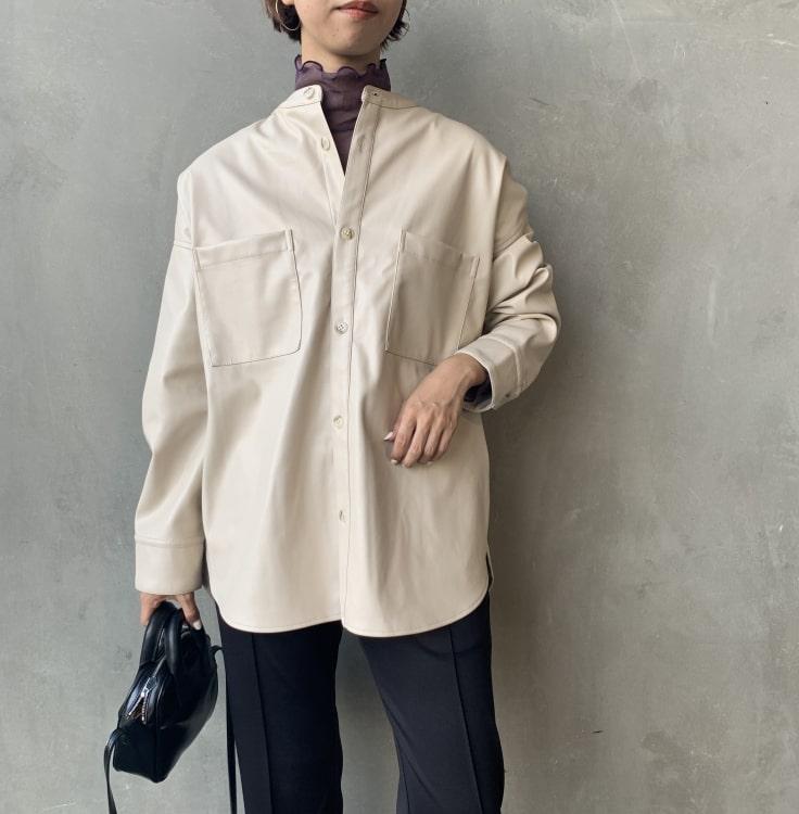 Jeans Factory Clothes [ジーンズファクトリークローズ] フェイクレザーバンドカラービッグシャツです。