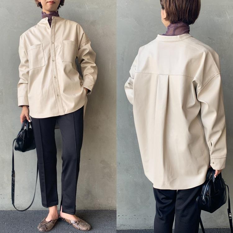 Jeans Factory Clothes [ジーンズファクトリークローズ] フェイクレザーバンドカラービッグシャツのコーディネートです。