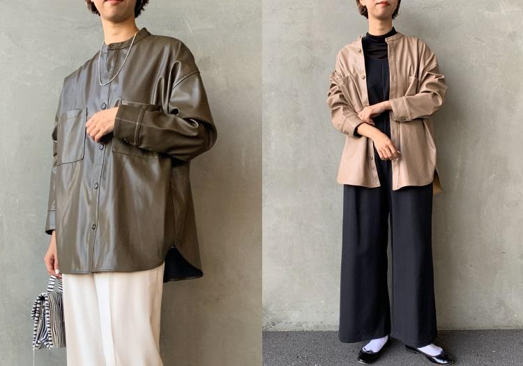Jeans Factory Clothes [ジーンズファクトリークローズ] フェイクレザーバンドカラービッグシャツの着用写真です。