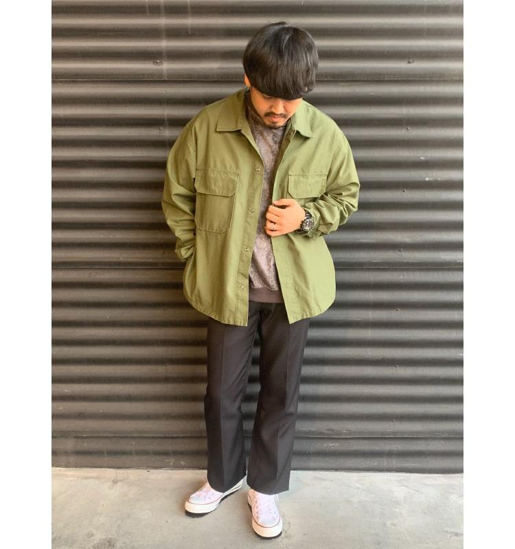 Jeans Factory Clothes [ジーンズファクトリークローズ] ファティーグシャツを使ったコーディネートです。