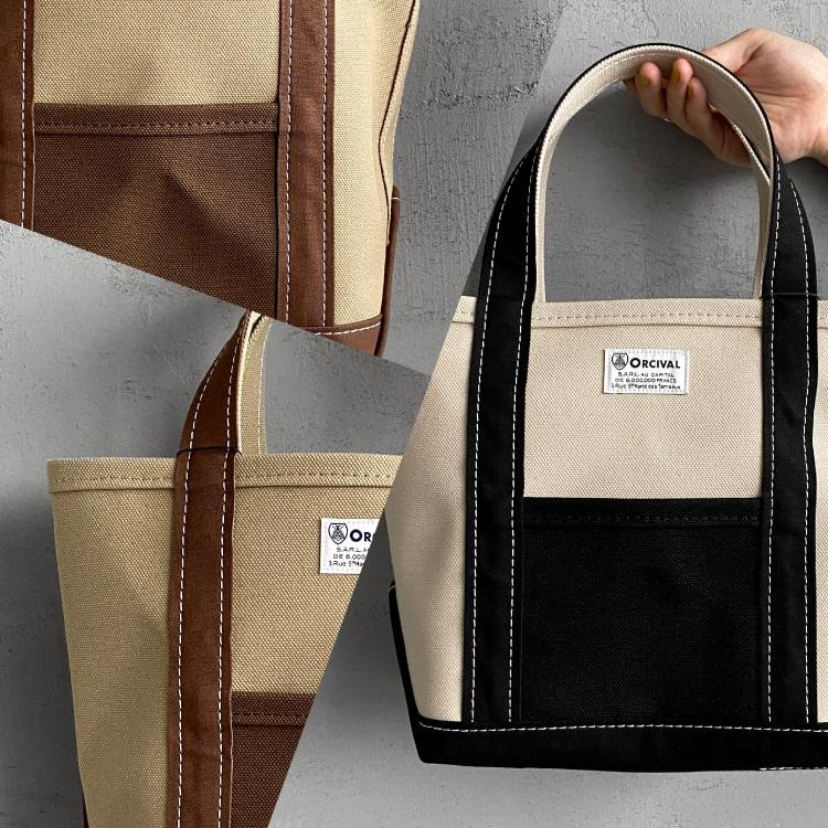 細部の配色にこだわり。秋のORCIVAL(オーシバル)別注キャンバストートバッグの特集バナーです。